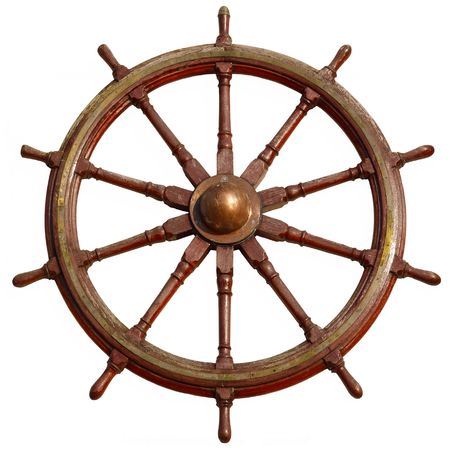 Large wooden ship wheel, isolated on white. Stock Photo