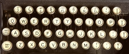 The keys of an old dirty typewriter. Stock Photo