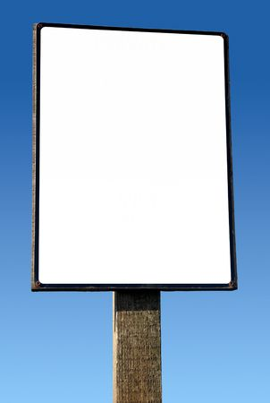 advertising board: Large white wooden advertising board. Stock Photo