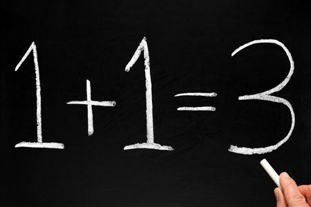 Writing 1+1=3 on a blackboard. Stock Photo - 2685064