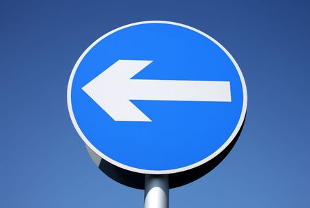 British left turn only one way sign. Stock Photo - 3003228
