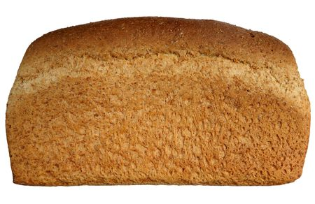 A large healthy wholemeal uncut loaf isolated over white. photo