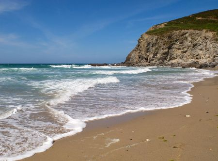 Waves breaking on Porthtowan beach. Stock Photo - 3126462