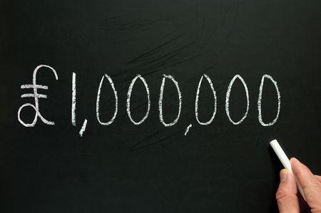 million: One million pounds, written on a blackboard.