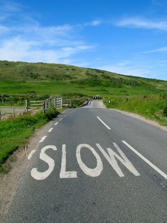 grass verge: Lento segno su una strada campagna inglese.  Archivio Fotografico