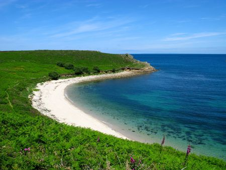 scilly: Perpitch beach, St. Martins, Isles of Scilly. Stock Photo