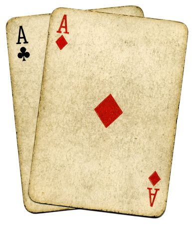 Old vintage dirty aces cards, isolated over white.