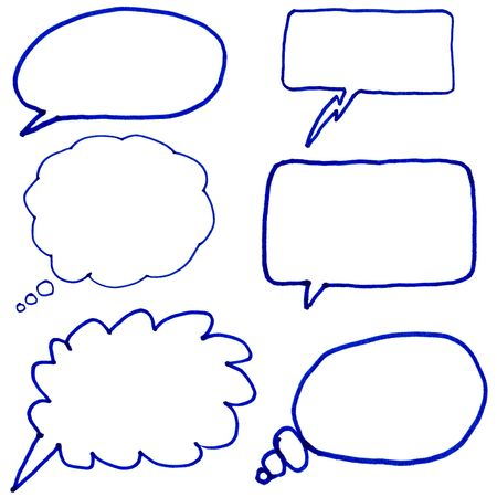 illustrates: Hand drawn thought bubbles. Stock Photo