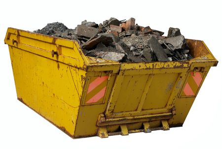 A skip full of rubble isolated over white.
