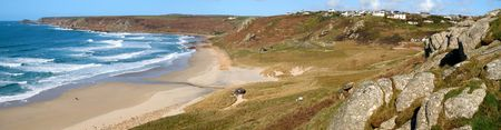 Panoramic view of Sennen Cove and Cape Cornwall. Stock Photo - 3871124