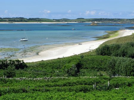 scilly: St. Martins, Isles of Scilly middle town beach. Stock Photo