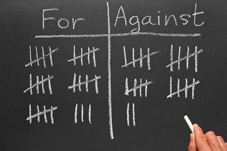 głosowało: Pisanie ocenę głosowali za i przeciw, na tablicy.