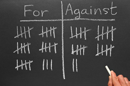 tally: Writing scores voted for and against on a blackboard.
