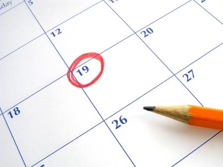 circle calendar date: Circled date on a calendar.