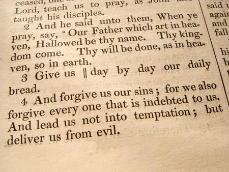 ルーク: 1847 聖書から祈りのルーク 11:2-4。