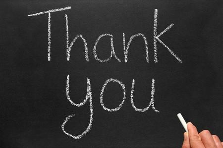 remark: Writing thank you on a blackboard.