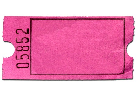 Colorful pink blank admission ticket, isolated on a  white background.