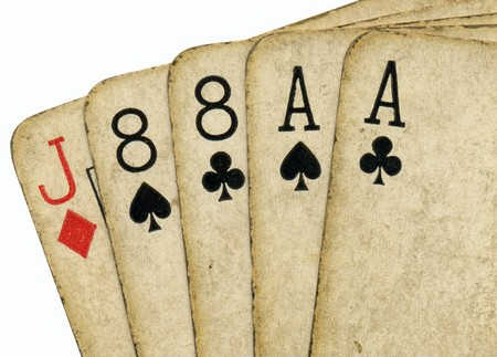 eights: Close up of aces and eights, the dead mans hand.
