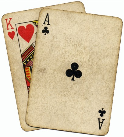 Ace King known as the Big slick poker hand. Stock Photo