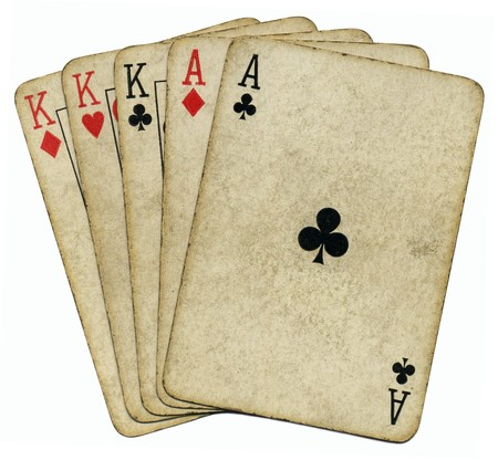 poker cards: Full house aces and Kings vintage poker cards isolated over white. Stock Photo