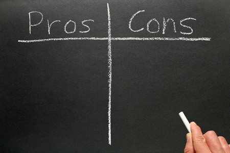 cons: Writing the pros and cons on a blackboard. Stock Photo