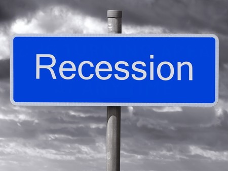 Recession sign and a dark cloudy sky. Stock Photo - 4296600