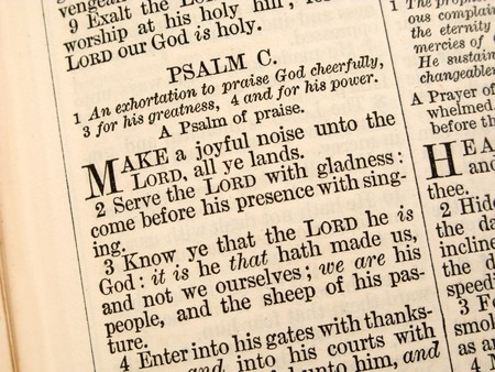 Close up of Psalm 100 in an 1868 Bible.