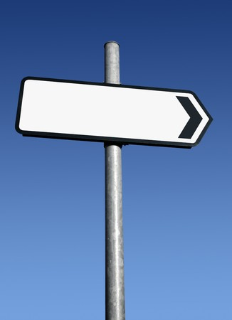 Right pointing blank white direction sign. Stock Photo - 4480844