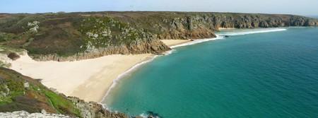 cornwall: Panoramic view of Porthcurno beach, Cornwall UK.