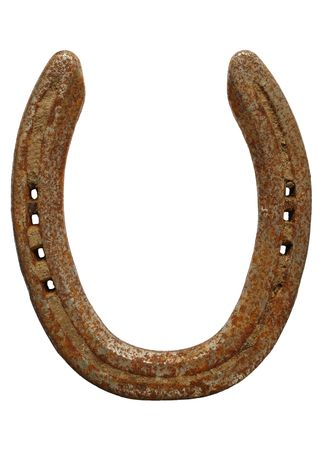 Old rusty lucky horseshoe isolated on a white background. photo