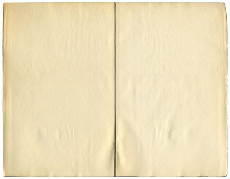 tatty: Two blank pages from a 1932 vintage book isolated over white. Stock Photo
