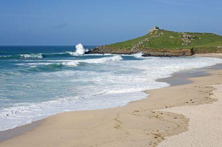Atlantic sea breaks on Porthmeor beach in St. Ives, Cornwall UK. Stock Photo - 4842146