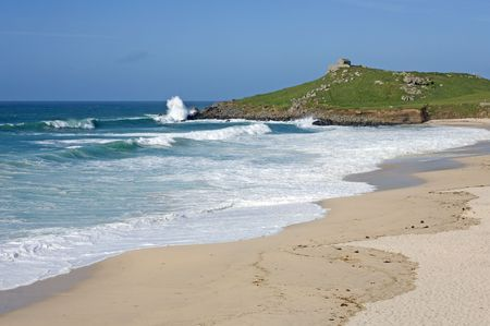 Atlantic sea breaks on Porthmeor beach in St. Ives, Cornwall UK. Stock Photo - 4842146