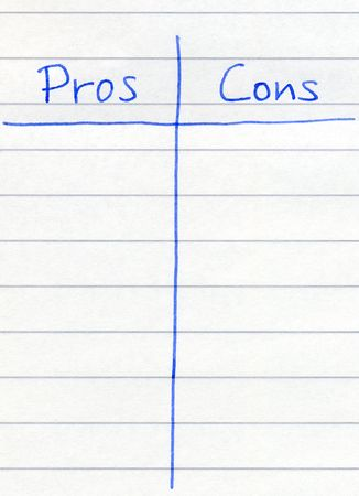 cons: Writing the pros and cons. Stock Photo