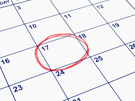 important: A date circled on a calendar. Stock Photo