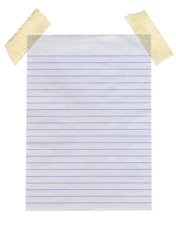 masking: Lined paper stuck with masking tape isolated white background.