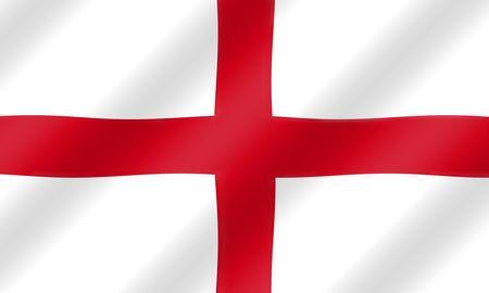 bandiera inghilterra: San Giorgio di bandiera inglese che soffia nel vento illustrazione.
