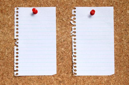 Two blank paper pages from a notebook pinned to a cork noticeboard. photo