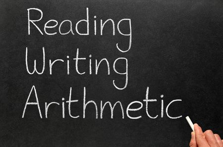reading and writing: The 3 rs, reading, writing and arithmetic.