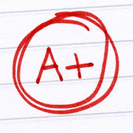 A+ grade written on a test paper. Stock Photo