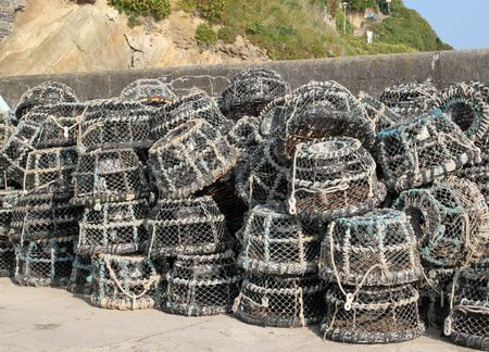 Lots of lobster pots in Cornwall, UK photo