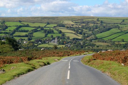 Country road to Widdecombe in the Moor, Dartmoor England. Stock Photo - 5636493