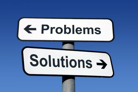 problem solution: Signpost pointing to problems and solutions.