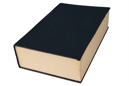 hardback: Old black large hardback book isolated on a white background. Stock Photo