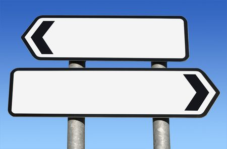 Two way blank road sign with copy space. Stock Photo - 5797964