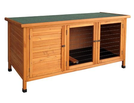 the hutch: Wooden rabbit hutch isolated over white.