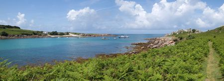 scilly: Panoramic view of St. Agnes and Gugh, Isles of Scilly.