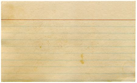 lined: Dirty old yellowing blank index card isolated on white.