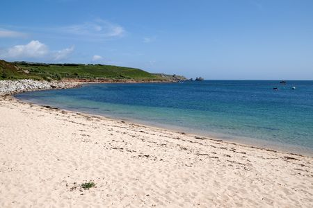 scilly: Porthcressa beach, St. Marys Isles of Scilly, Cornwall UK. Stock Photo