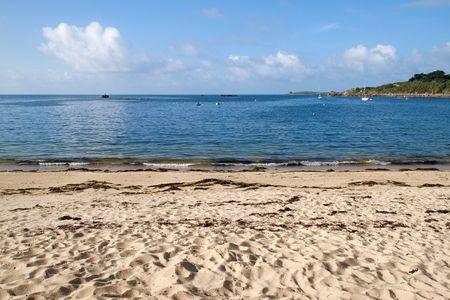 Porthcressa beach and a calm sea, Isles of Scilly, Cornwall UK. Stock Photo - 6001754